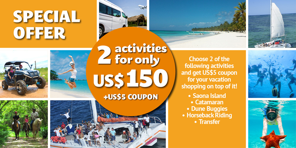 Punta Cana Daily - Special Offers - 2 Activities for US$150 - home